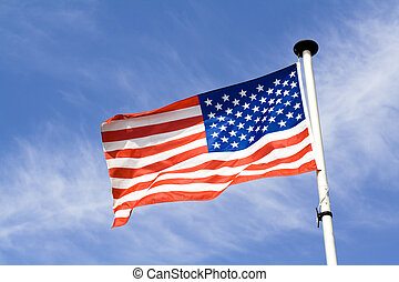 American flag - Waving american flag on blue sky backfground