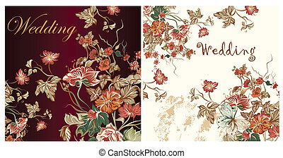 Set of wedding invitation cards - Collection of wedding...