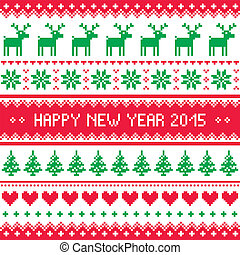 Happy New Year 2015 - Scandinavian - Red and green...