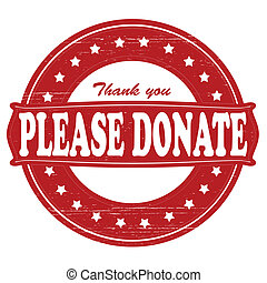 Please donate - Stamp with text please donate inside, vector...