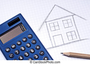 Sketch of a house with calculator