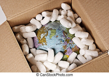 Globe in a cardboard box - Globe is packed in a cardboard...
