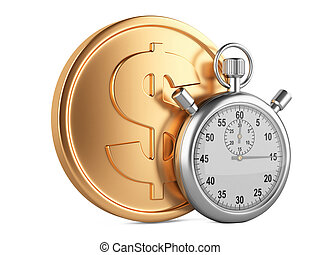 Time is money - 3d illustration of stopwatch and gold coins...