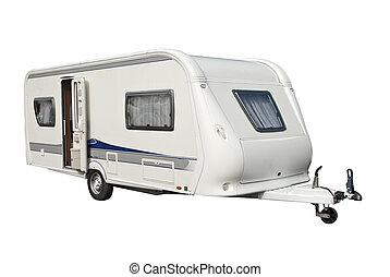 Modern Caravan - View of a modern caravan with open door