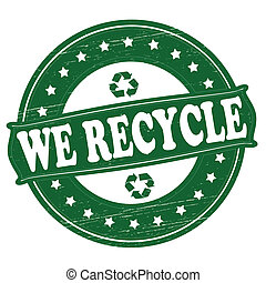 We recycle - Stamp with text we recycle inside,vector...