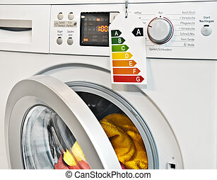 Washing machine with energy efficiency label - Modern...