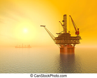 Oil Platform at Sunset - Computer generated 3D illustration...