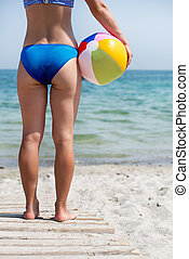 girl with ball on the beach - Beautiful girl with ball on...