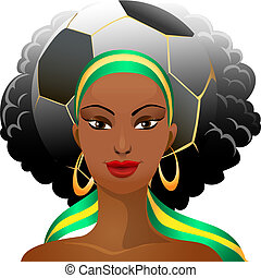 Football fan - Illustration of football fan girl with a...