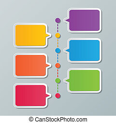 timeline infographic template - colorful paper speech bubble...