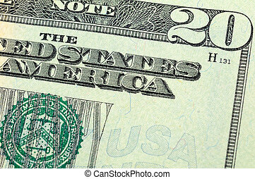 Twenty dollar bill closeup - Close up of US twenty dollar...