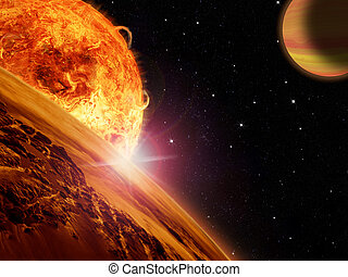 Alien sun rises over a rocky moon with a nearby gas giant...