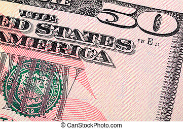 Fifty dollar bill closeup - Close up of US fifty dollar bill