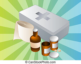 First aid kit illustration - First aid kit and its contents...
