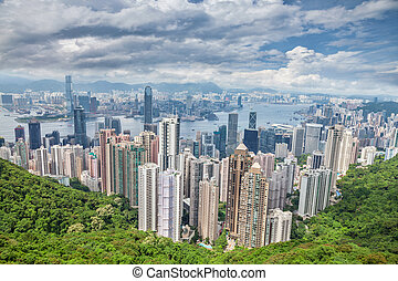 Aerial view of Honk Kong skyscrapers