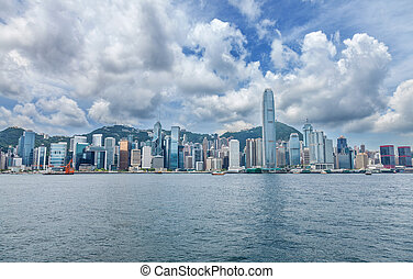 Famous Hong Kong skyline during daytime
