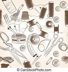 moda, seamless, Padrão, fios, agulhas, outro, Cosendo