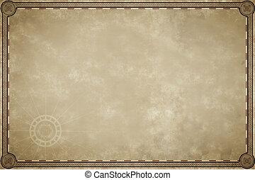 antigas, mapa, Pergaminho, em branco