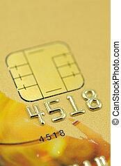 Golden credit card closeup