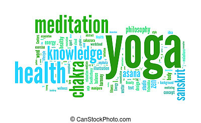 YOGA. Word collage on white background.  illustration.