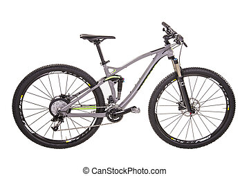 Modern mountain bike isolated on white