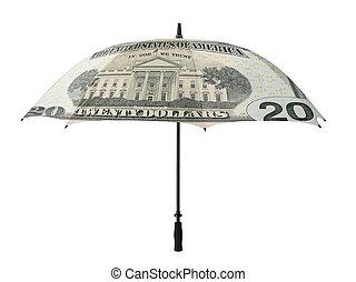 Business concept: umbrella with a twenty dollar bill...