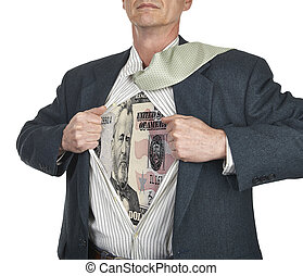 Businessman showing fifty dollar bill superhero suit...