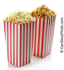 Popcorn - Two striped boxes of popcorn (salty and sweet)...