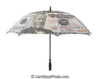 Business concept: umbrella with a fifty dollar bill...