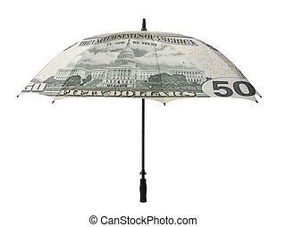 Business concept: umbrella with a fifty dollar bill -recto -...