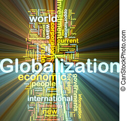 Globalization wordcloud glowing - Word cloud tags concept...