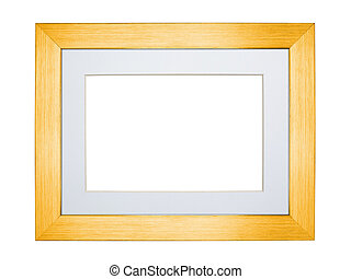 Yellow silver frame isolated on white