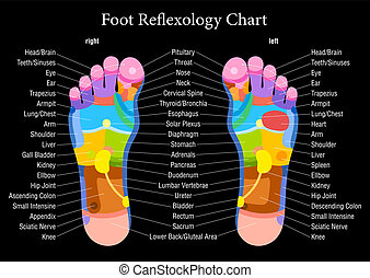 Foot reflexology chart black descri - Foot reflexology chart...