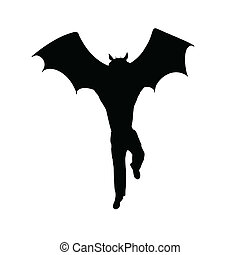 half bat half man silhouette vector illustration