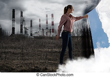 young woman pushes the curtain looking at clouds - image of...
