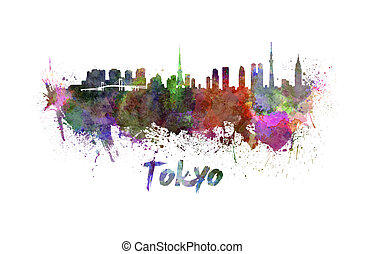 Tokyo skyline in watercolor splatters with clipping path