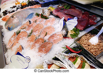 Fish counter in a crocery store
