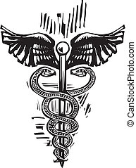 Caduceus - Woodcut image of the Caduceus the snake entwined...