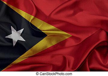 Timor Leste grunge waving flag