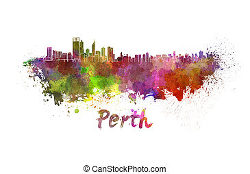 Perth skyline in watercolor splatters with clipping path