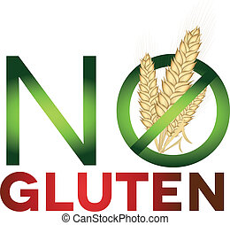 Gluten free sign, health care diet. Green and red colors,...