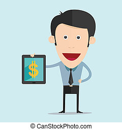 Vector illustration of cartoon with tablet and money flat design