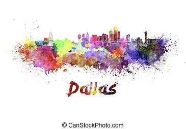 Dallas skyline in watercolor splatters with clipping path