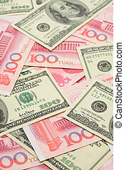 Närbild, porslin,  Yuan,  dollar, oss