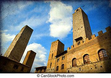 San Gimignano - The towers of San Gimignano, Siena, Italy