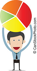 Vector illustration of cartoon holding pie chart
