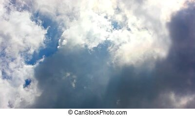 Moving clouds and blue sky.