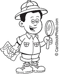 Cartoon African boy explorer - Black and white illustration...