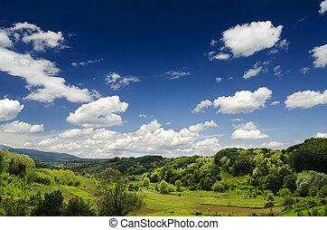 Idyllic Landscape - Idyllic landscape with blue sky and...