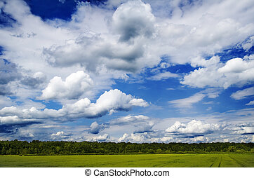 Idyllic Landscape - Idyllic landscape with blue sky and...